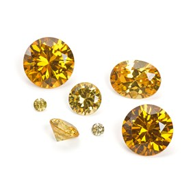 Citrine Coloured Cubic Zirconia Faceted Stones