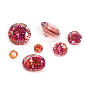 Raspberry Coloured Cubic Zirconia Faceted Stones