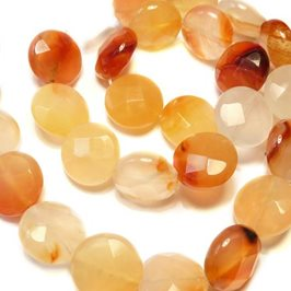 Natural Agate Faceted Coin Beads, 12mm