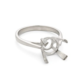 Sterling Silver Ring for 8mm Faceted Stone