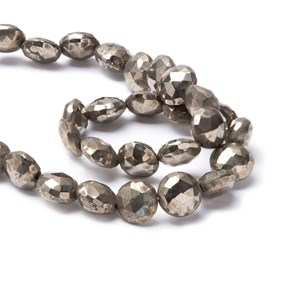 Pyrite Faceted Coin Beads, Approx 7.5x4.5mm