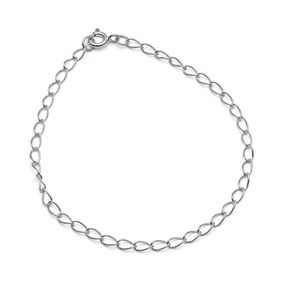 Sterling Silver Light Long Curb Chain, 19cm Bracelet