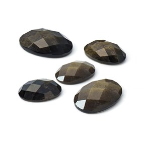 Golden Sheen Obsidian Checker Cut  Faceted Top Cabochons