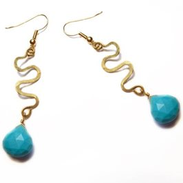 Turquoise Brass Stream Drop Earrings