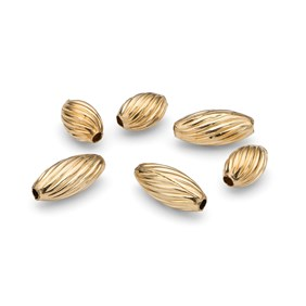Gold Filled Corrugated Oval Beads, 5x3mm