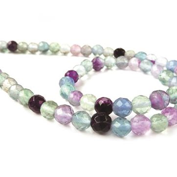 B324 Fluorite Faceted Round Beads