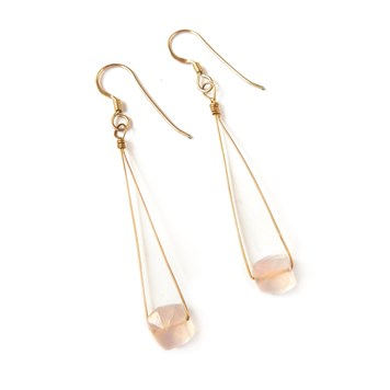 Rose Quartz Puffed Bead Earrings- Kernowcraft