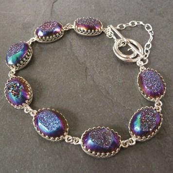 Rainbow drusy link bracelet project