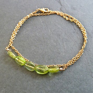 jewellery project - gold plated peridot bracelet