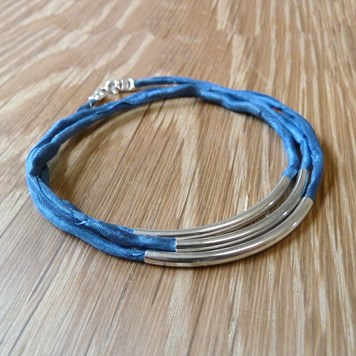 Crimp Example - Denim Silver Bracelet