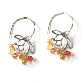 yellow sapphire lotus earrings