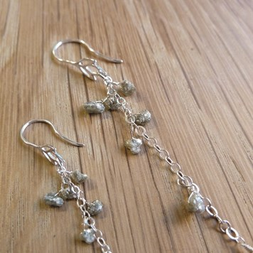 Silver Diamond Natural Rough Nugget Beads and Sterling Silver chain cascade earrings.