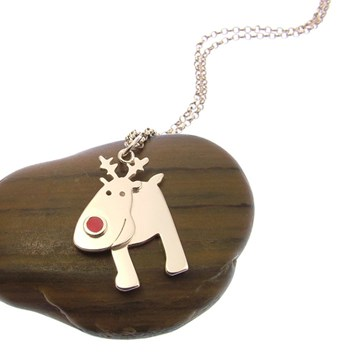 Sterling Silver Christmas Reindeer Necklace From FurKeeps