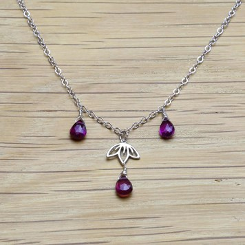 Rhodolite Garnet Drop Necklace