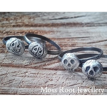 Skull and Pumkin Staking Rings From Moss Root Jewellery