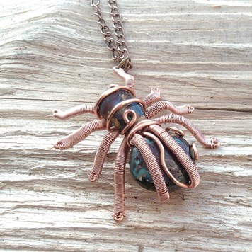 Dragonfly handmade Jewellery - Wire Wrapped Spider Pendant
