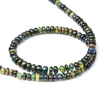 Ethiopian Smoked Black Opal Rondelle Beads