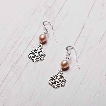 snowflake and pearl earrings