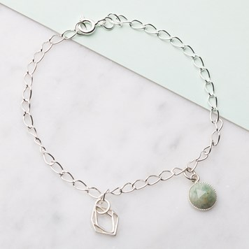 AMAZONITE & DIAMOND CHUNKY CHAIN BRACELET