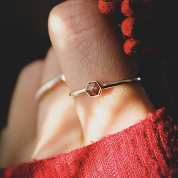 hexagon diamond ring