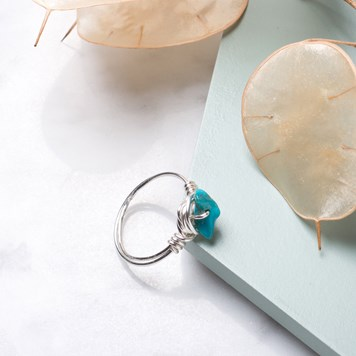 turquoise chip bead ring kit
