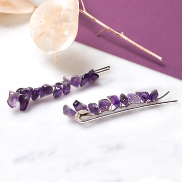amethyst chip bead hair grips