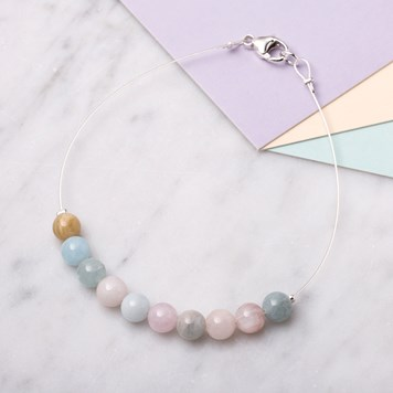 MORGANITE & AQUAMARINE BEAD BRACELET
