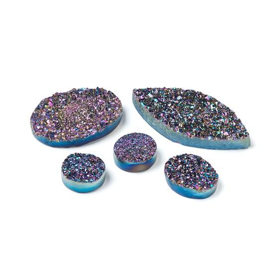 Rainbow Titanium Flat Drusy Cabochons