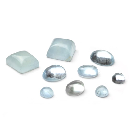 Aquamarine cabochon gemstones from Kernowcraft