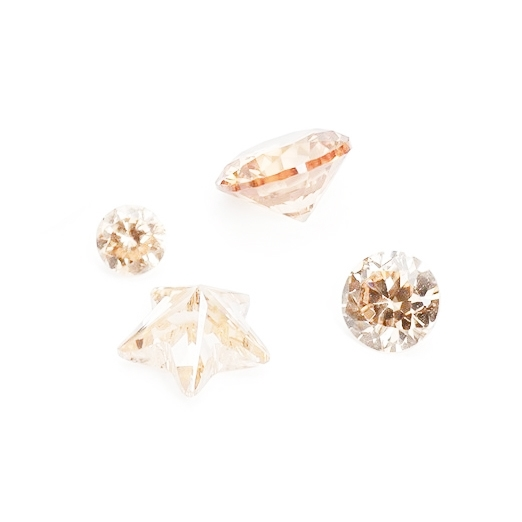 Champagne Coloured Cubic Zirconia Faceted Stones, Approx 2.5mm Round