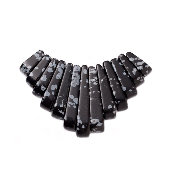 Snowflake Obsidian Tapered Gemstone Bead Set with 13 Pieces