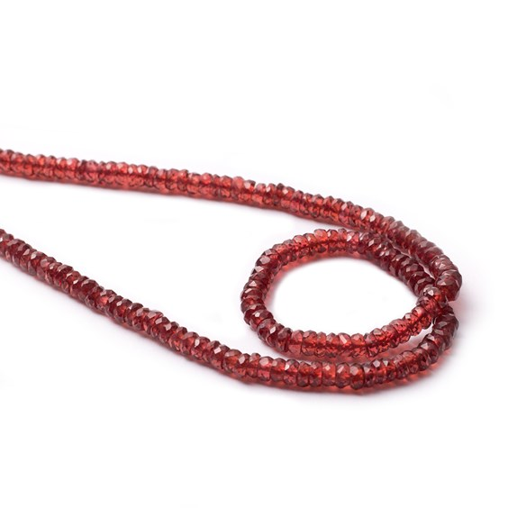 Garnet Faceted Rondelle Beads, 3.5x2mm