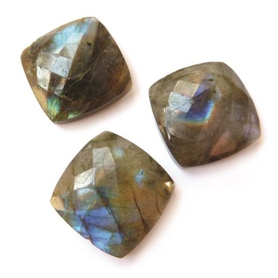Labradorite 18mm Checker Cut Square Cabochons