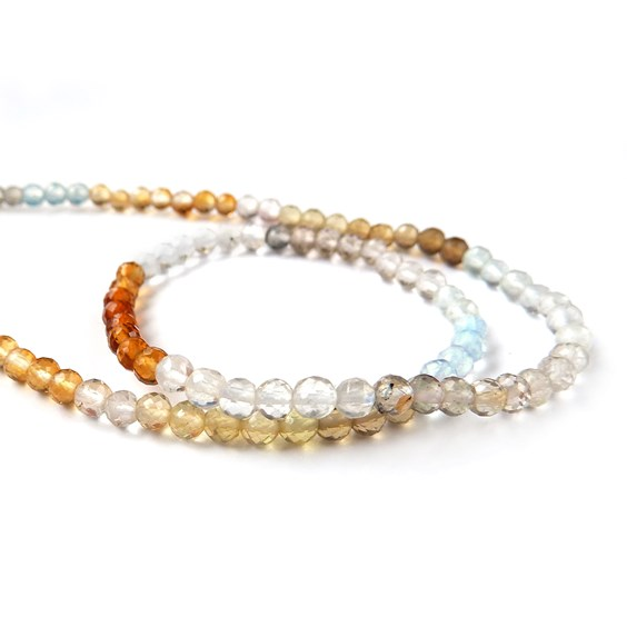 Multi Gemstone Micro Faceted 3mm Round Beads