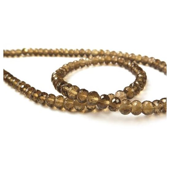 Cognac Quartz Micro Faceted Round Beads, from Approx 4.5mm