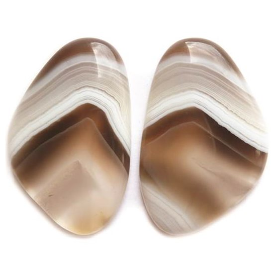 Pair of Botswana Agate 28x28.5mm Freeform Cabochons