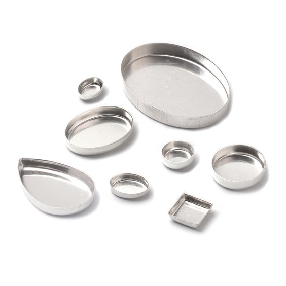 Sterling silver plain edge bezel cups
