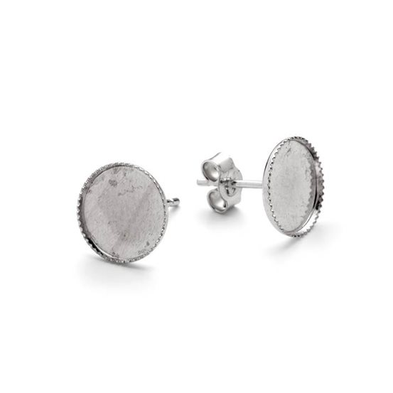 Sterling Silver Milled Edge Earstud Settings for Cabochon Stones (Pair)