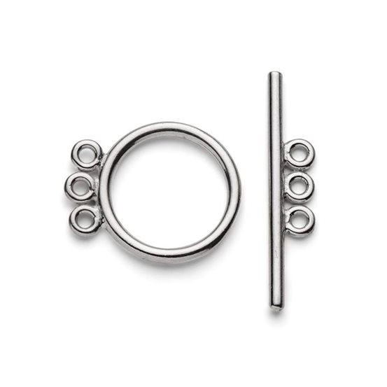 Sterling Silver Three Ring Toggle Clasp