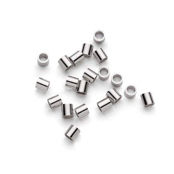 Sterling Silver 2x2mm Crimps (Pack of 10 Pairs)