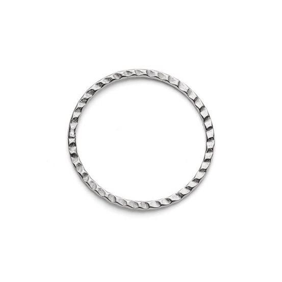 Sterling Silver Textured Hoop Connector Link, 21mm