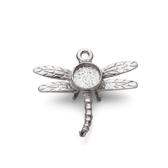 Sterling Silver Dragonfly Pendant Setting for 5mm Round Cabochons