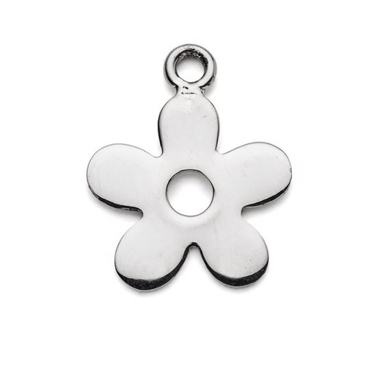 Sterling Silver Large Flat Flower Charms