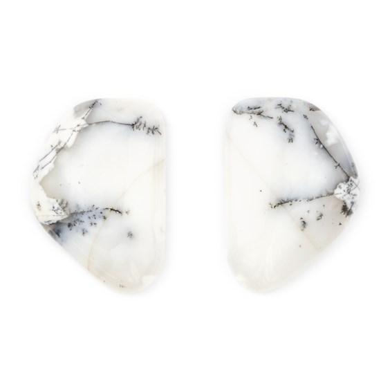 Pair Of Dendrite Opal Freeform Cabochons 27x18mm
