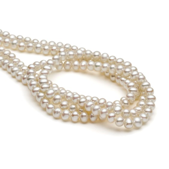 Cultured Freshwater White Pearls, 4-4.5mm Roundish