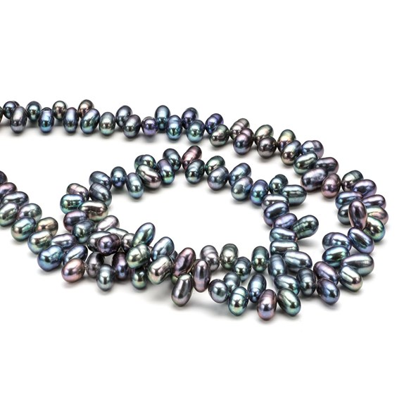 Cultured Freshwater Head Drilled Peacock Pearls, 4-5mm Rice Shape