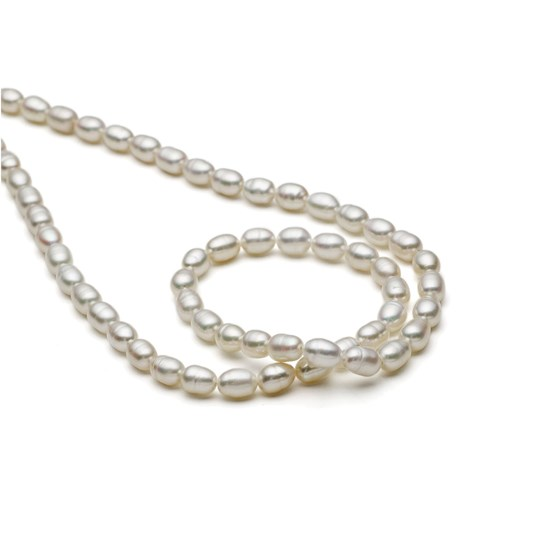 Cultured Freshwater Rice Shaped White Pearls, Approx 4-5mm x 5-6mm