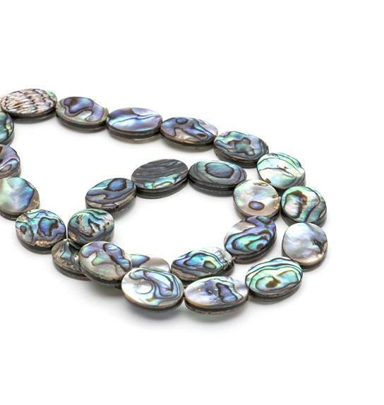 Paua Shell Flat Oval Beads, Approx 16x12mm