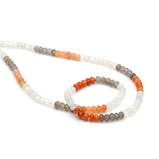 Multicoloured Moonstone Faceted Rondelle Beads, 4x3mm