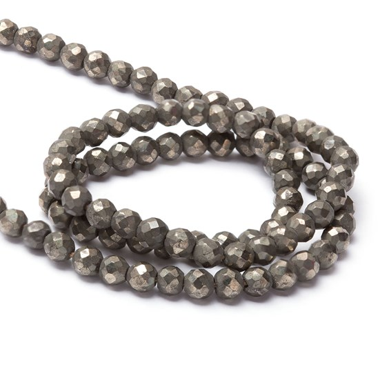 Pyrite Faceted Round Beads, 3.5mm